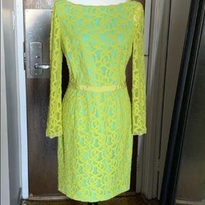Nine West Lime Green Lace Long Sleeve Dress